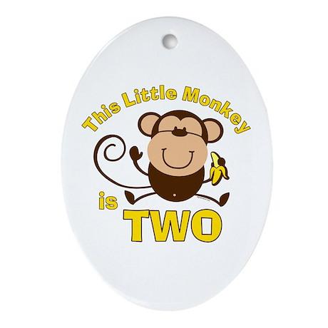 Little Monkey 2nd Birthday Boy Oval Ornament