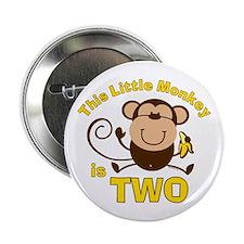 """Little Monkey 2nd Birthday Boy 2.25"""" Button"""