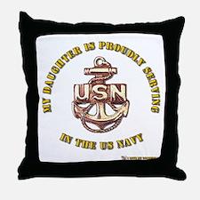 Navy Gold Daughter Throw Pillow