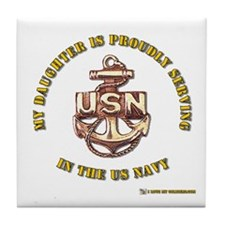 Navy Gold Daughter Tile Coaster