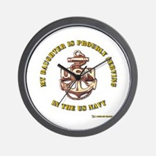 Navy Gold Daughter Wall Clock