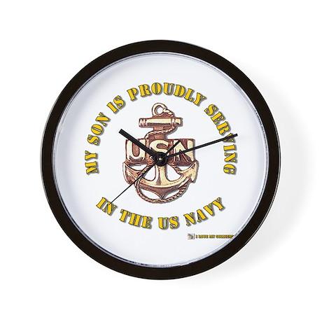 Navy Gold Son Wall Clock
