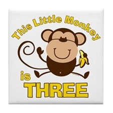 Little Monkey 3rd Birthday Boy Tile Coaster