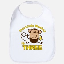Little Monkey 3rd Birthday Boy Bib