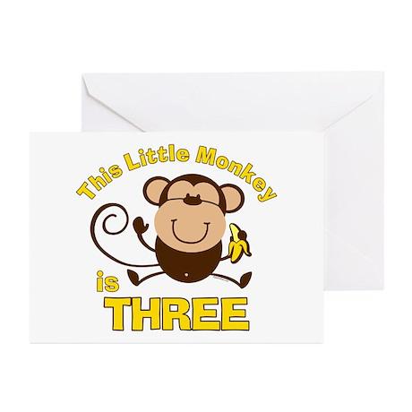 Little Monkey 3rd Birthday Boy Cards (Pk of 20)