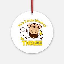 Little Monkey 3rd Birthday Boy Ornament (Round)
