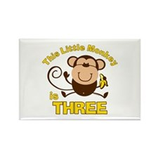 Little Monkey 3rd Birthday Boy Rectangle Magnet