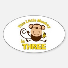 Little Monkey 3rd Birthday Boy Oval Decal