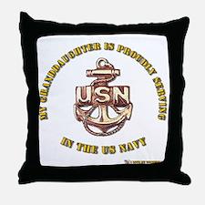 Navy Gold Granddaughter Throw Pillow
