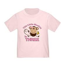 Little Monkey 3rd Birthday Girl T