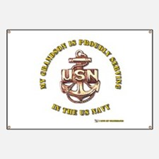 Navy Gold Grandson Banner