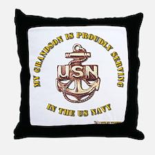Navy Gold Grandson Throw Pillow