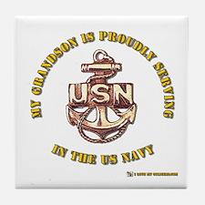 Navy Gold Grandson Tile Coaster