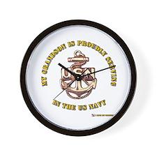 Navy Gold Grandson Wall Clock