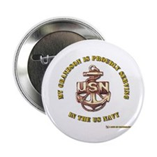"""Navy Gold Grandson 2.25"""" Button"""