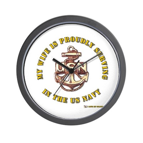 Navy Gold Wife Wall Clock