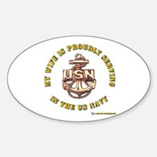 Navy Gold Wife Oval Decal