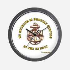 Navy Gold Husband Wall Clock