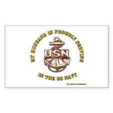 Navy Gold Husband Rectangle Decal