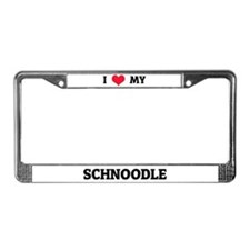 I Love (Heart) My Schnoodle License Plate Frame