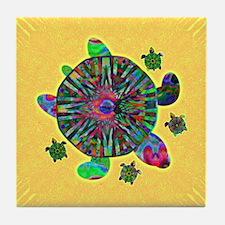 Colorful Sea Turtle Tile Coaster