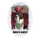 WHERES SANTA? GREAT DANE  Oval Ornament