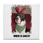 WHERES SANTA? GREAT DANE  Tile Coaster