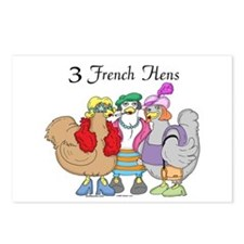 3 French Hens Postcards (Pkg of 8)