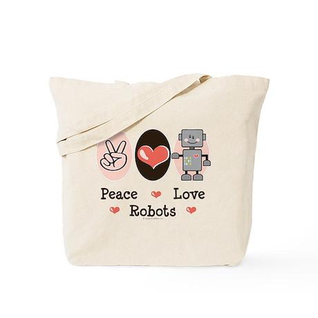 Peace Love Robots Tote Bag