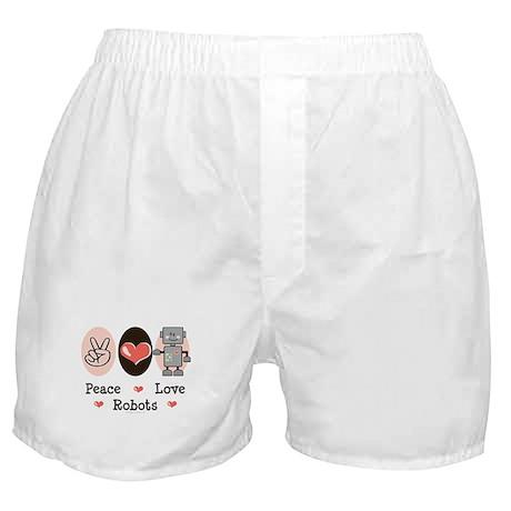 Peace Love Robots Boxer Shorts