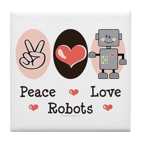 Peace Love Robots Tile Coaster
