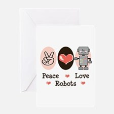 Peace Love Robots Greeting Card