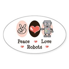 Peace Love Robots Oval Decal