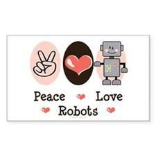 Peace Love Robots Rectangle Decal