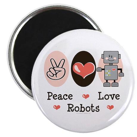 "Peace Love Robots 2.25"" Magnet (100 pack)"