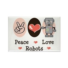 Peace Love Robots Rectangle Magnet