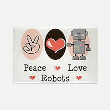 Peace Love Robots Rectangle Magnet (100 pack)