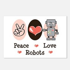 Peace Love Robots Postcards (Package of 8)