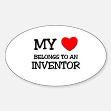 My Heart Belongs To An INVENTOR Oval Decal