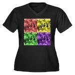 Pop Art Women's Plus Size V-Neck Dark T-Shirt