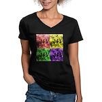 Pop Art Women's V-Neck Dark T-Shirt