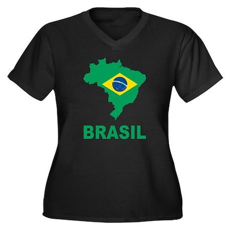 Brazil Women's Plus Size V-Neck Dark T-Shirt