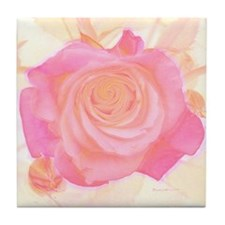 Portrait Of a Pink RoseTile Coaster