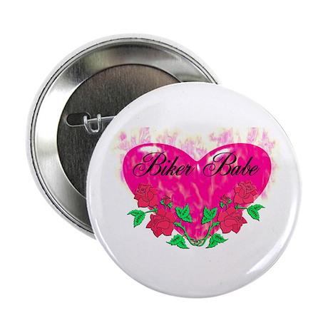 """BIKER BABE HEART 2.25"""" Button"""