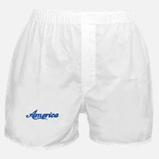 America Outlined (blue filled Boxer Shorts