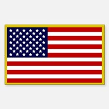 American Flag Sticker (Gold Border)