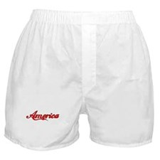 America Outlined (red filled) Boxer Shorts