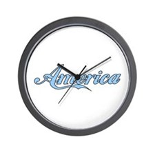 America Outlined (light blue Wall Clock