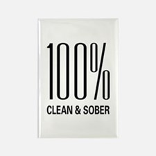 100 Percent Clean and Sober Rectangle Magnet