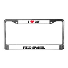 I Love My Field Spaniel License Plate Frame
